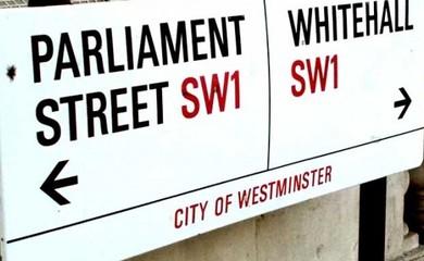 Parliament Whitehall Street Sign