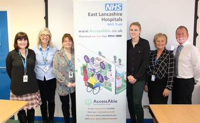 AccessAble's Head of Partnerships Rachel Carter (3rd from right) joins hospital staff at the launch of the AccessAble Detailed Access Guide