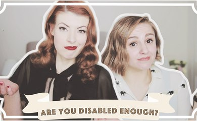 Jessica Kellgren-Fozard and Hannah Witton sat next to each other with the caption 'Are you Disabled Enough'
