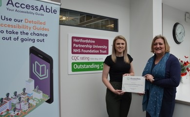 HPFT's Director of Quality and Safety and Chief Nurse Dr Jane Padmore (pictured right) accepting plaque from AccessAble to mark the official launch of HPFT's Access Guides
