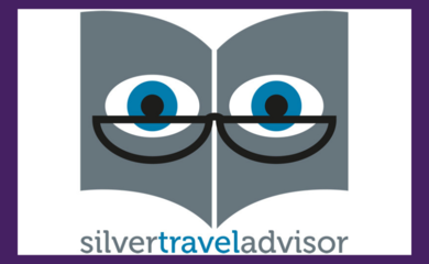 Silver Travel Advisor logo on purple background