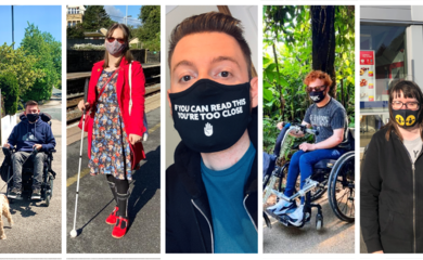 A collage of different disabled people wearing masks