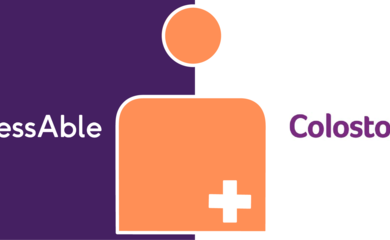 Logos of AccessAble and Colostomy UK, with the Stoma Friendly symbol overlaid