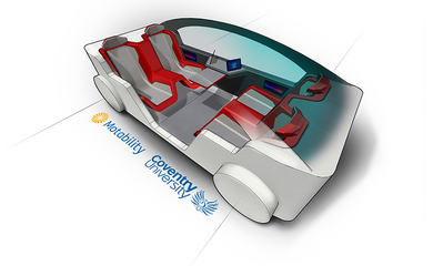 Graphic drawing of a futuristic accessible vehicle