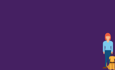 Graphical people on a purple background