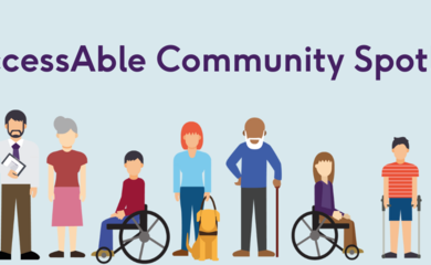 hero image shows a light blue background with the words 'AccessAble Community Spotlight' in the top left corner a cartoon hand is holding a lightbulb and there is a row of diverse cartoon people along the bottom edge ob the image