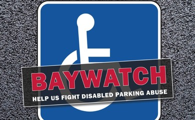 Blue badge with wheelchair on it. Text over the top of it reading Baywatch help us fight disabled parking abuse