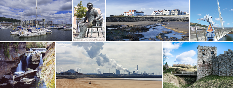 Collage showing Swansea, Bridgend and Neath Port Talbot