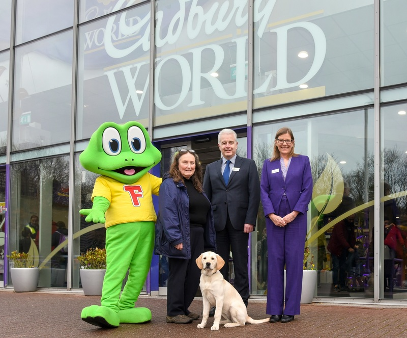 Freddo, Mary Beswick from Guide Dogs for the Blind Association, Gerrard Baldwin General Manager at Cadbury World, Michelle Darragh Assistant Visitor Services Manager & Community Champion at Cadbury World, and Buttons
