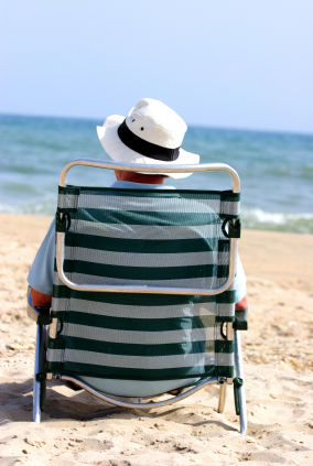Man in deckchair on beach