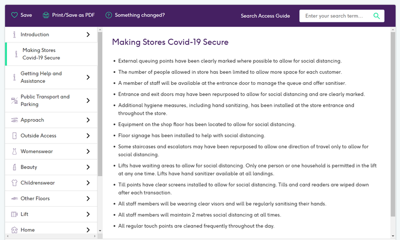 COVID 19 Access Guide section