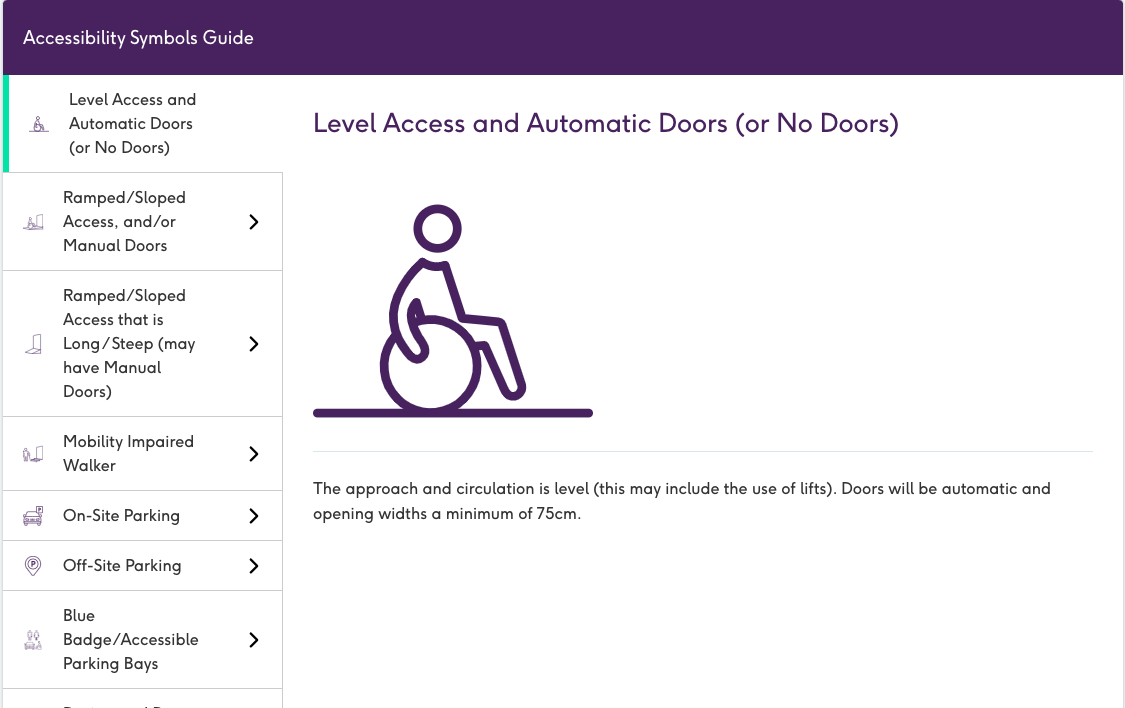 A screenshot from the AccessAble website. There's a purple boarder at the top reading Accessibility Symbols. Below on the left hand side are 7 accessibility symbols and their description. On the right hand side there is a wheelchair symbol for level access and an in-depth description.