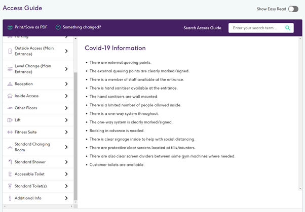 Screenshot of Access Guide COVID section