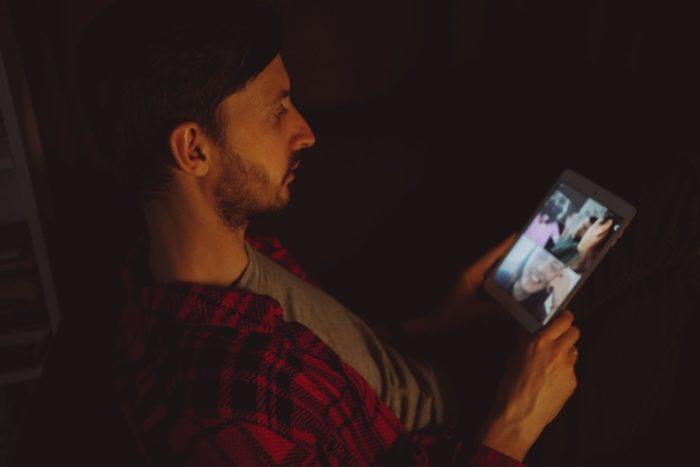Man making a video call