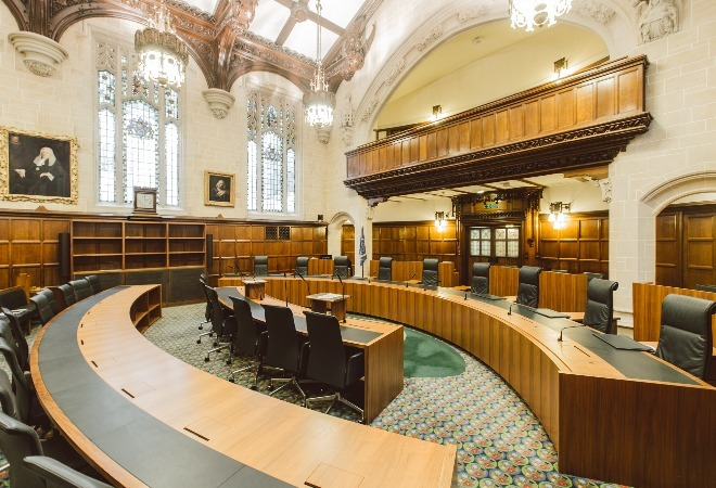 Courtroom at the UK Supreme Court