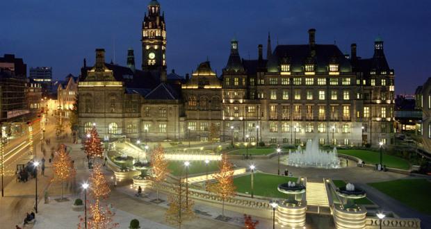 Sheffield Peace Garden at night