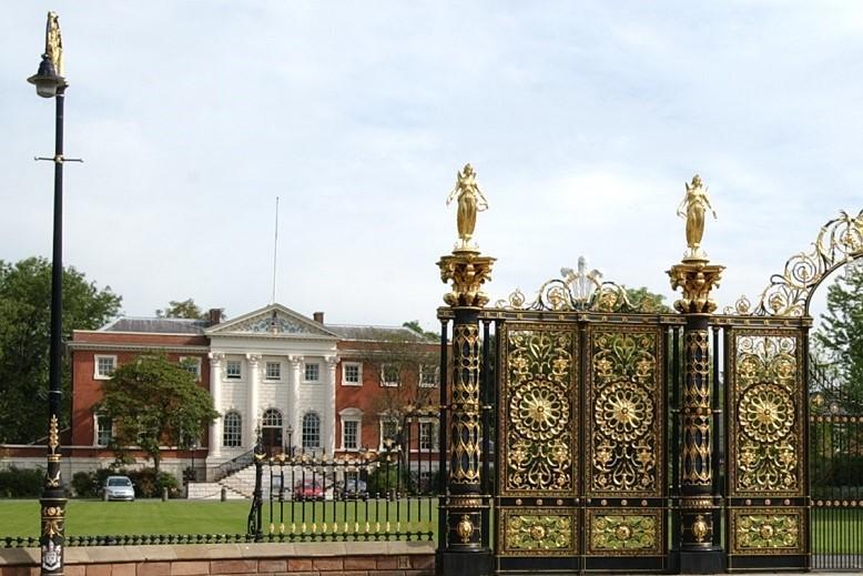 Warrington town hall and gates