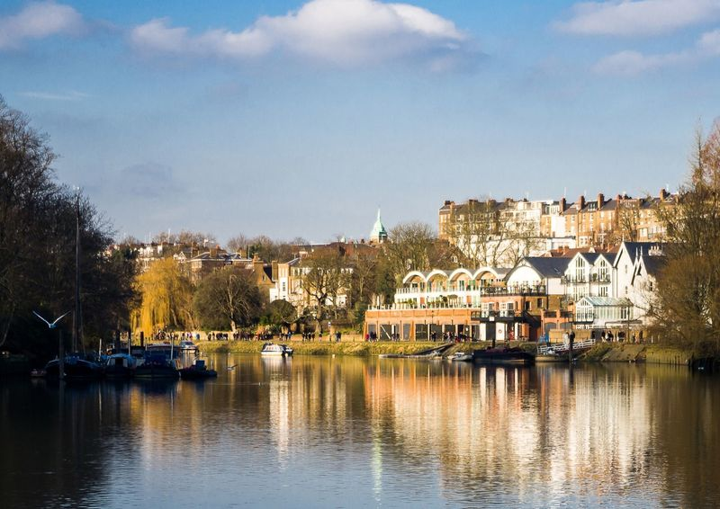 Shot of Richmond across the river thames