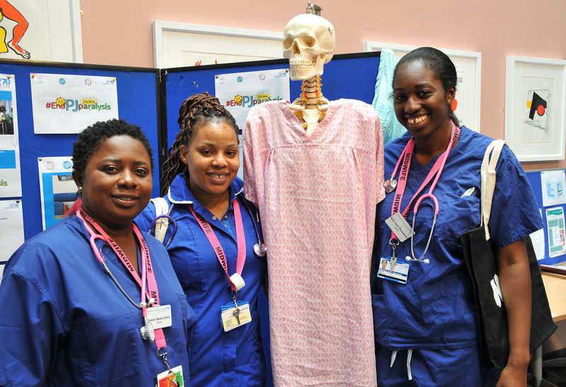 Nurses with a medical skeleton