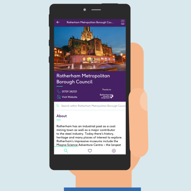 A image of Rotherham's Access guide is displayed on a mobile device