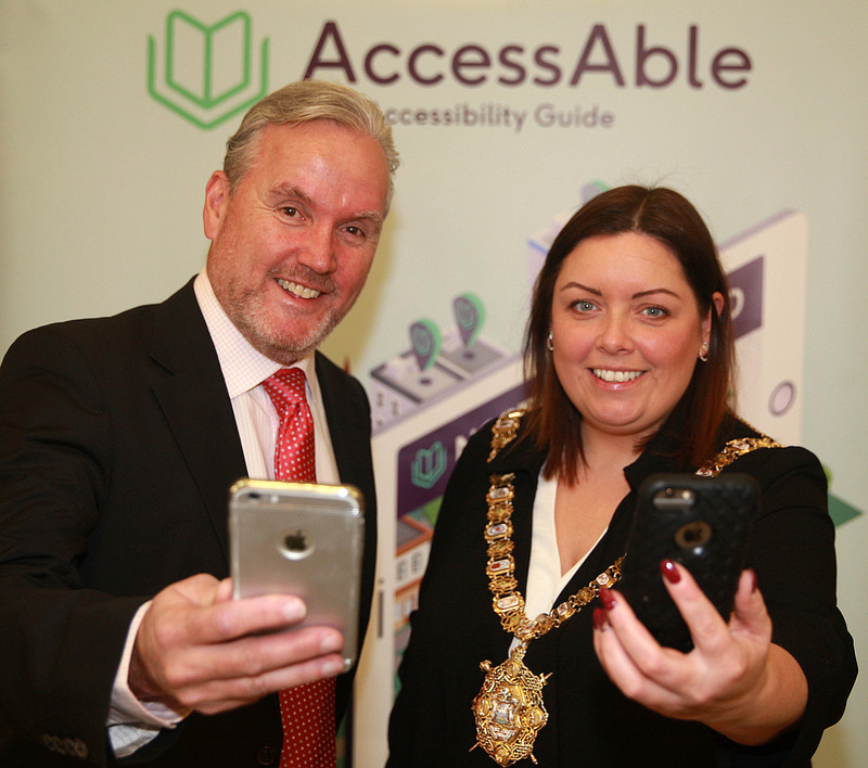 Chairman of AccessAble Barry Stevenson and Lord Mayor of Belfast, Councillor Deirdre Hargey at the AccessAble Northern Ireland launch